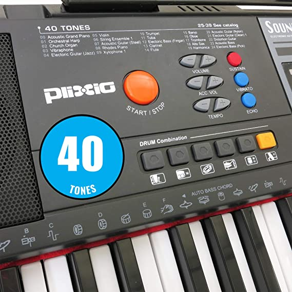 Plixio 61-Key Digital Electric Piano Keyboard & Sheet Music Stand -  Portable Electronic Keyboard for Beginners (Kids & Adults)