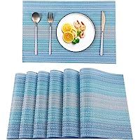 EXCO Heat-Resistant Crossweave Woven Set of 6 Placemat PVC Placemats Kitchen Place Mats Washable PVC Table Mats Blue…