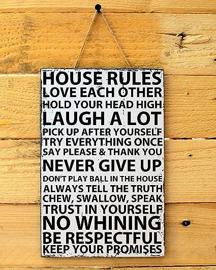 Amazon.com: Adonis554Dan Shabby Chic House Rules Family ...