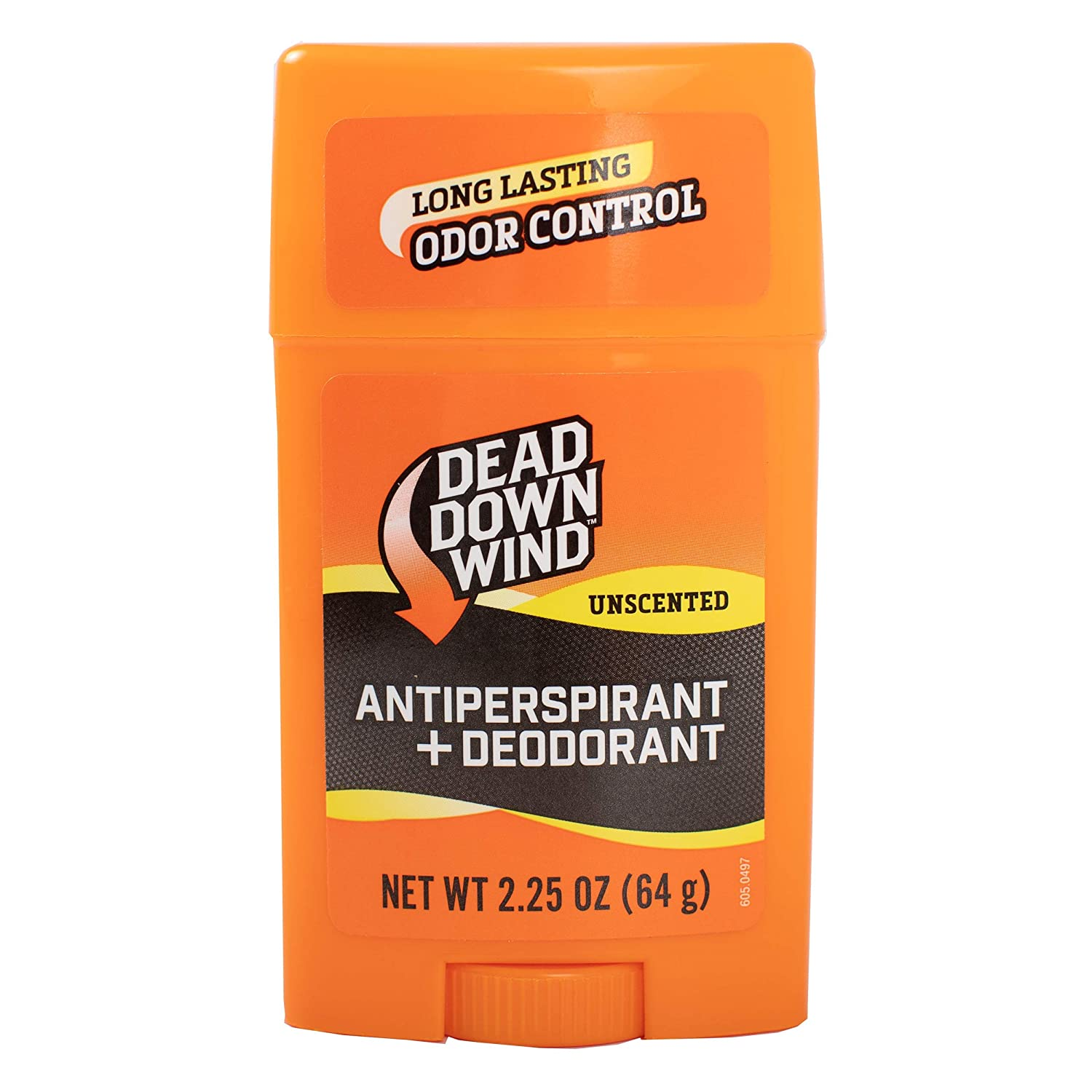 Dead Down Wind Men's Antiperspirant Deodorant Stick | 2.25 Ounce | Unscented, Long Lasting, Chemical & Organic Odor Eliminator, Safe for Sensitive Skin | Hunting Accessories