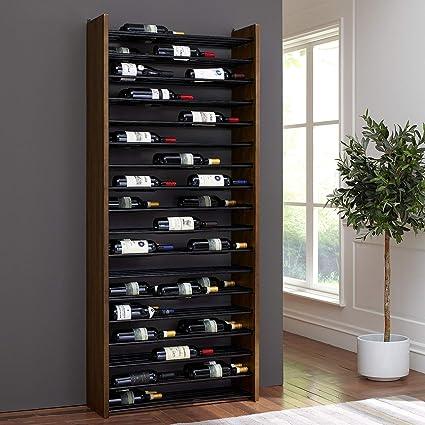 Amazoncom Corsica Triple Depth Vertical Wood And Metal Wine Rack