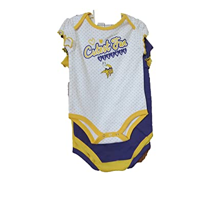 955c3a54b Image Unavailable. Image not available for. Color: Minnesota Vikings NFL  Girls Baby Fan 3 pk Bodysuit Set ...