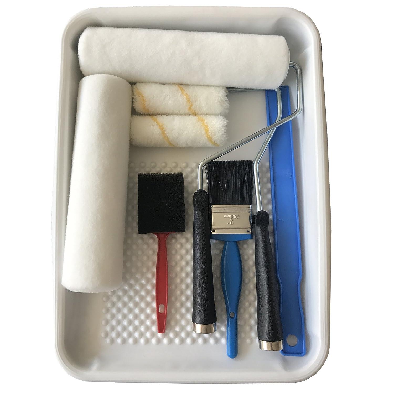 FW-Brush 12PCS Paint Roller,Paint Roller Frame, Metal Paint Tray, Paint Brush kit FW BRUSH