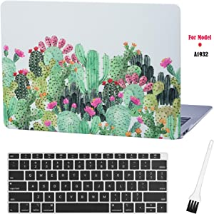 MacBook air 13 Inch Laptop Case A1932 Floral Cactus Laptop Hard Shell Cover Sleeve Matte Rubberized (2020 2019 2018 Release, Touch ID) with Silicon Keyboard Cover and Dust Brush (Cactus - Gray)