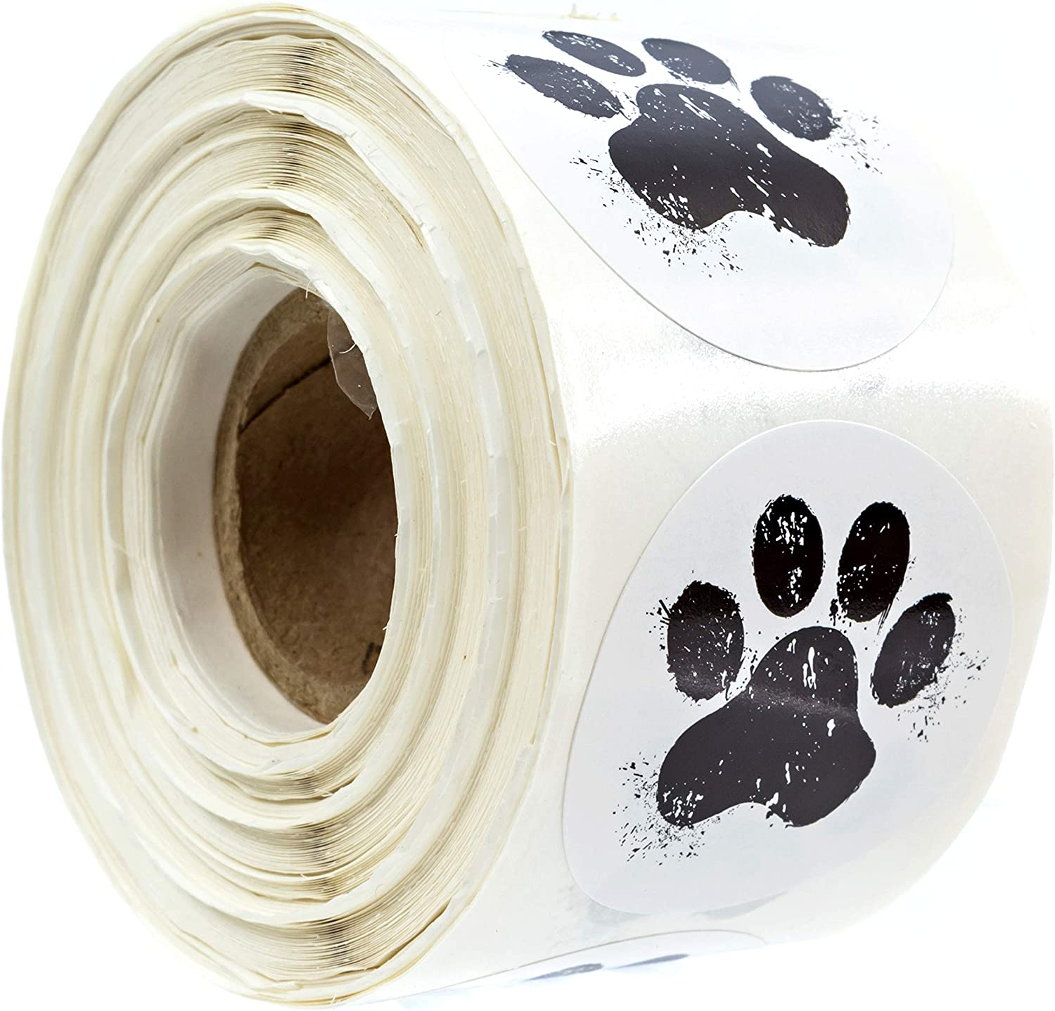 "1.5"" Round Paw Print Stickers / 500 Dog Paw Print Labels Per Roll"