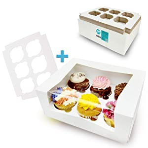 [18 Boxes and 18 Trays Pack] 9x7x3.5 Inch White Cupcake Box with Window and Inserts - Holds 6 Muffins, Auto-Popup Cardboard, Bakery and Gift Packaging, Containers for Cakes Donuts Cookies and Pastries