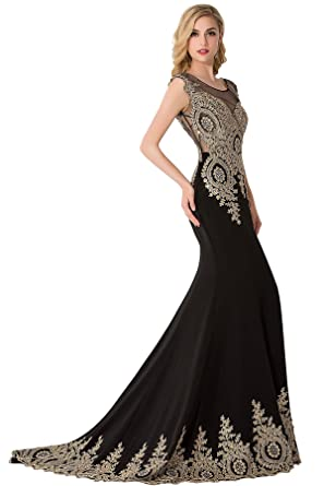 Babyonline Trumpet Long Evening Dress Lace beads Cap Sleeve Party Prom gowns, 2, Black