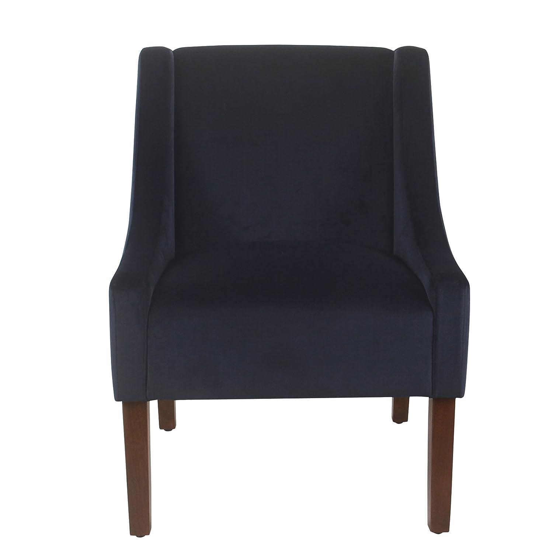 Spatial Order Miller Modern Swoop Arm Velvet Accent Chair, Navy