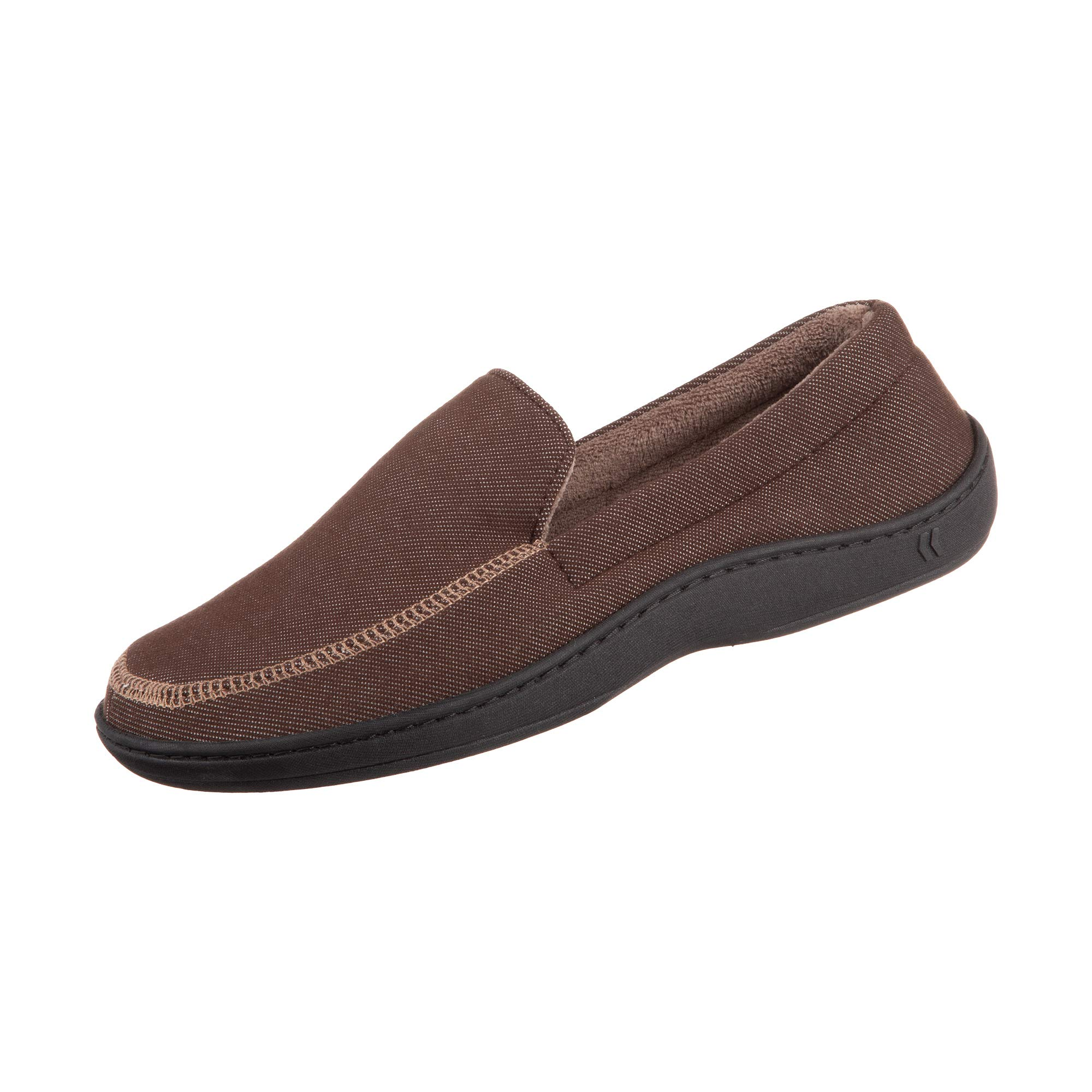 302a5e8923886 Isotoner Chandler Men's Moccasin Slippers, Memory Foam, Indoor/Outdoor  Sole, Dark Chocolate, MD
