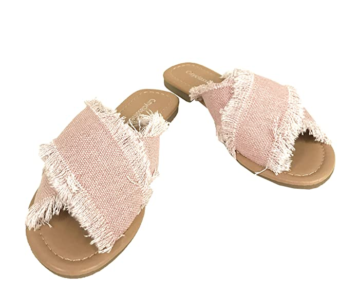 ddec0f843b3c City Classified Womens Destroyed Fraged Canvas Criss Cross Slide Sandal