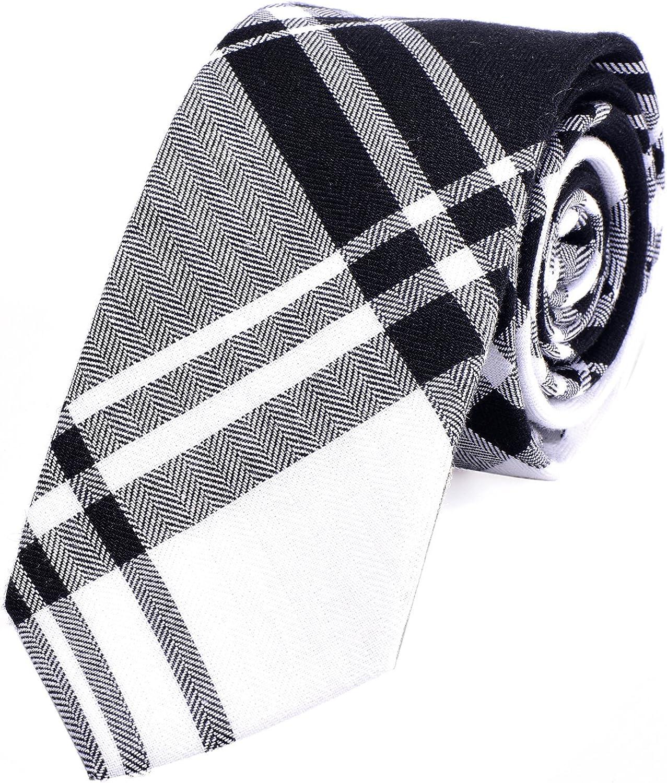 DonDon Corbata de cuadros e rayas de algodón para hombres de 6 cm