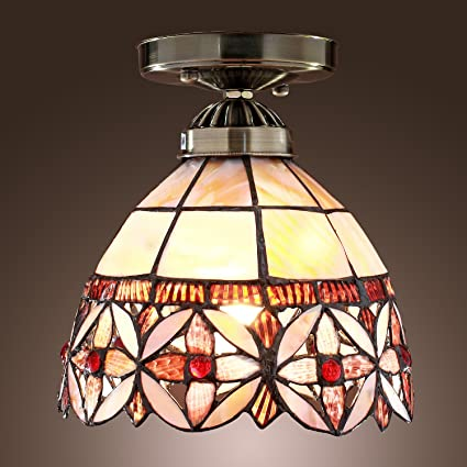 Lightinthebox tiffany style semi flush mount floral patterned traditional classic ceiling light
