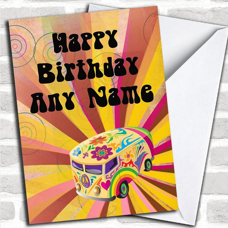 Retro Campervan Hippie tarjeta de cumpleaños con sobre, se ...