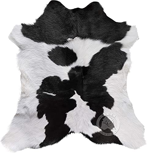 Calfskin Black and White Calfskin Calf Hide Cow Skin Cowhide Rug Leather Area Rug 3 x 2 ft.