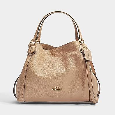 809cc484ff27 Coach Edie Ladies Medium Pebbled Leather Ladies Shoulder Handbag 57124  (Beechwood light Gold)