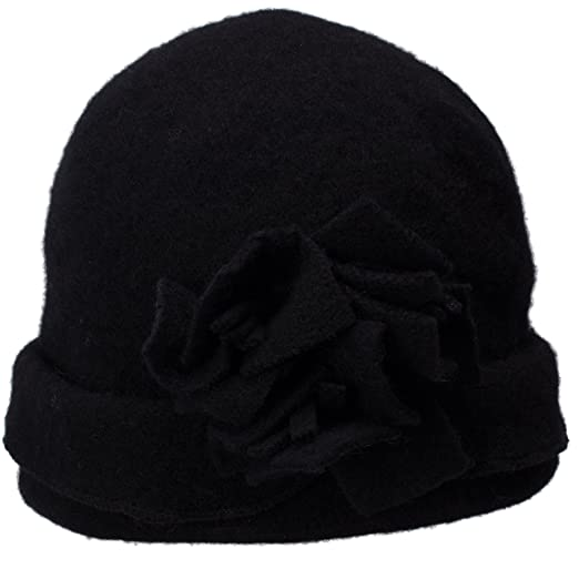 4dcfd2073bd Lawliet Womens 1920s Gatsby Wool Flower Beanie Cloche Crochet Cap Hat A388  (Black)