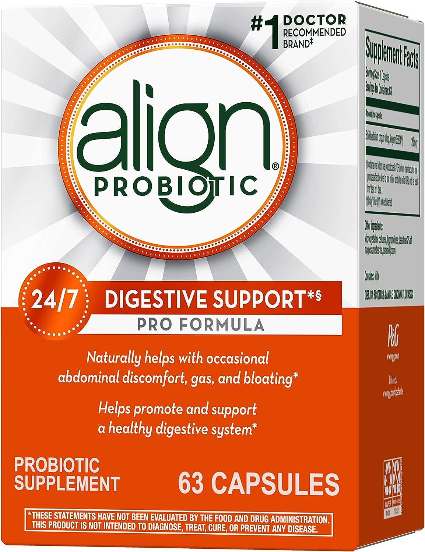 Align Probiotics Supplement, 63 Capsules, Probiotics for Women and Men, Gluten Free, Natural Strain Probiotic Digestive Support Pro Formula