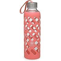Gaiam Botella de Agua de Vidrio con Agarre Seguro con Funda Protectora de Silicona, 20 oz