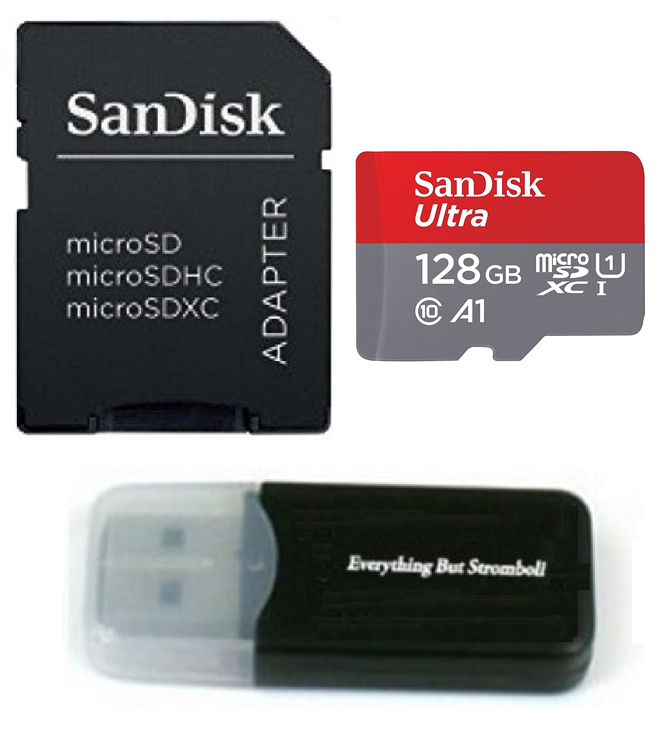 Samsung Galaxy S9 Memory Card SanDisk 128GB Ultra Micro SD SDXC UHS-I Class 10 for S9+, S9 Plus (SDSQUAR-128G-GN6MA) with Everything But Stromboli (TM) Card Reader (Class 10 128GB)