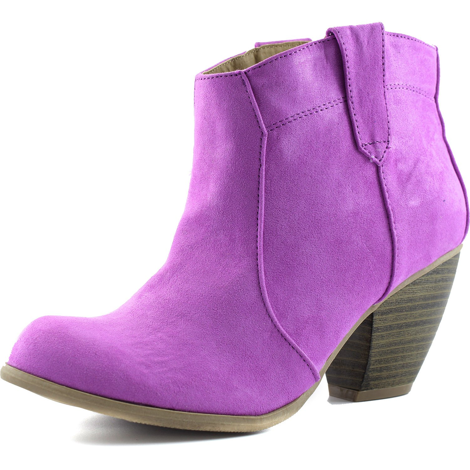 Qupid Womens Priority-53 Western Cowboy Ankle Bootie Fashion Round Toe Boots