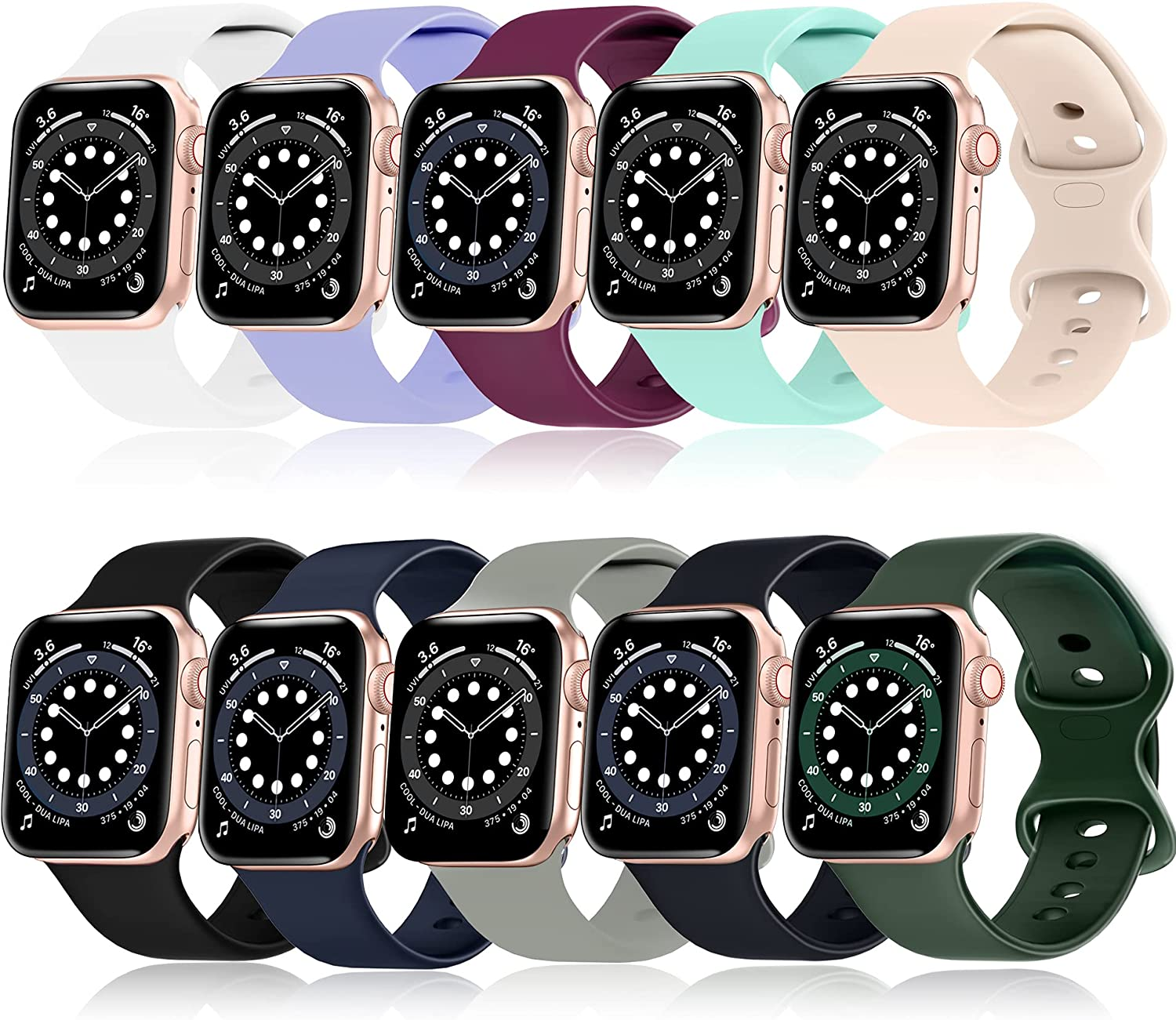 Mocodi 10 Pack Sport Bands Compatible for Apple Watch Bands 38mm 40mm,Soft Silicone Sport Women Men Replacement Strap Compatible with iWatch Series SE/6/5/4/3/2/1(38mm/40mm-S/M, Small)
