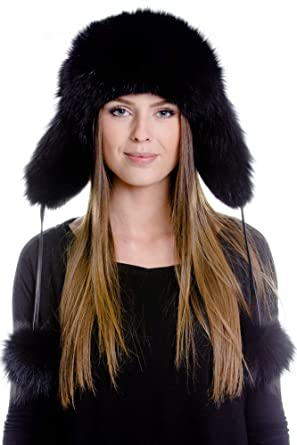 Image Unavailable. Image not available for. Color  Pulinda Womens real black  fox fur trapper hat 98ab9dc2199