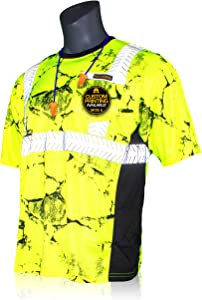 KwikSafety (Charlotte, NC) RENAISSANCE MAN UNCLE WILLY'S WALL Short Sleeve (w/POCKET) Class 2 ANSI High Visibility Safety Shirt Tape Construction Security Hi Vis Clothing Men | Yellow Black XX-Large