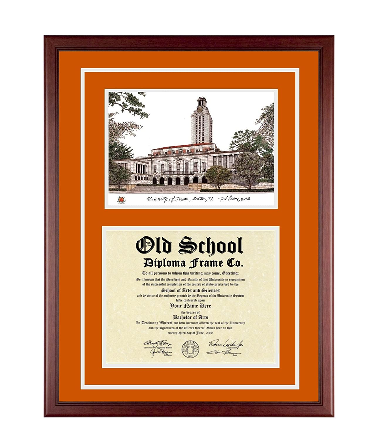 Amazon.com: UT AUSTIN Diploma Frame with Artwork in Classic Black ...