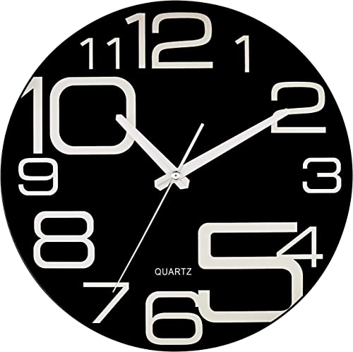 Bernhard Products Large Decorative Black Glass Wall Clock 12 Inch Silent Non Ticking Quality Quartz Battery Operated Round Unique Modern Design