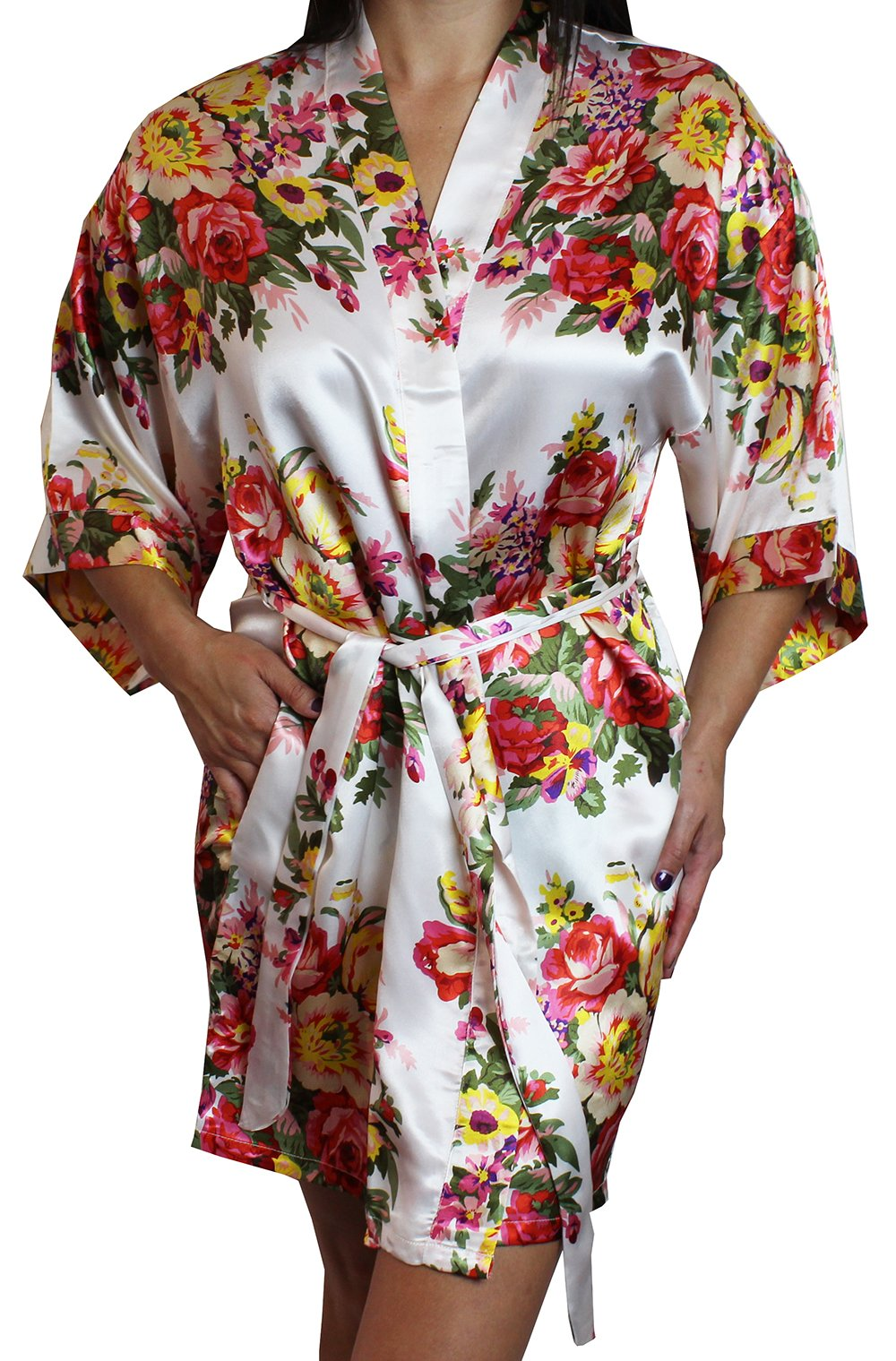 Ms Lovely Women's Satin Floral Kimono Short Bridesmaid Robe W/Pockets - White XS/S