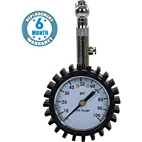 Voroly Analog Tyre Pressure Gauge 100 PSI Car Truck Bicycle and Non-Slip Grip
