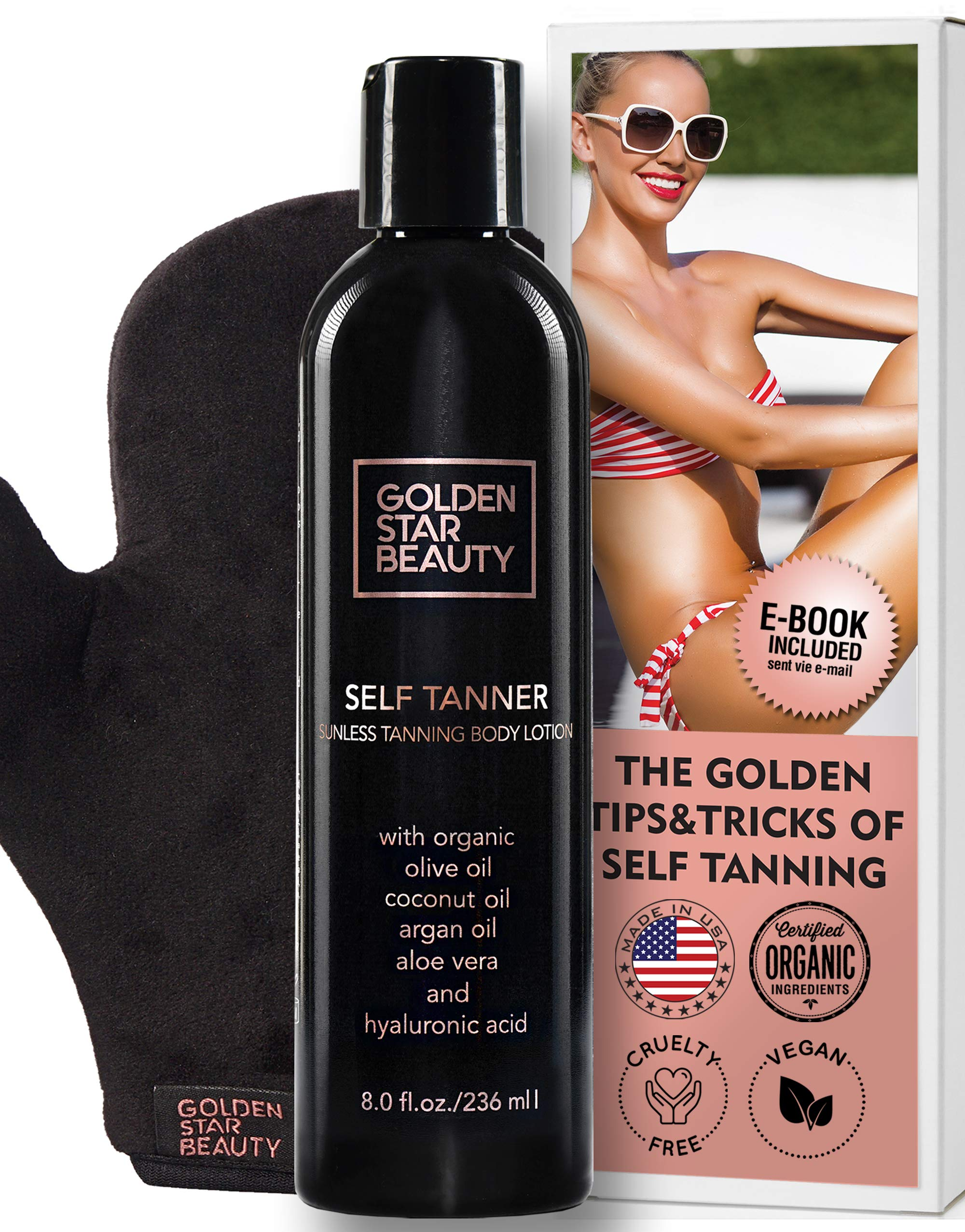 Self Tanner with Tanning Mitt - Sunless Tanning Lotion w/Hyaluronic Acid & Organic Oils Gradual Body Bronzer for Light or Medium Tan 8.0 fl.oz ... by GOLDEN STAR BEAUTY