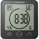 KADAMS Digital Clock Timer with Alarm, Waterproof for Water Spray for Bathroom Shower Kitchen, Touch Screen Timer, Temperature and Humidity Display, Double Layer Suction Cup, Hanging Hole, Table Stand