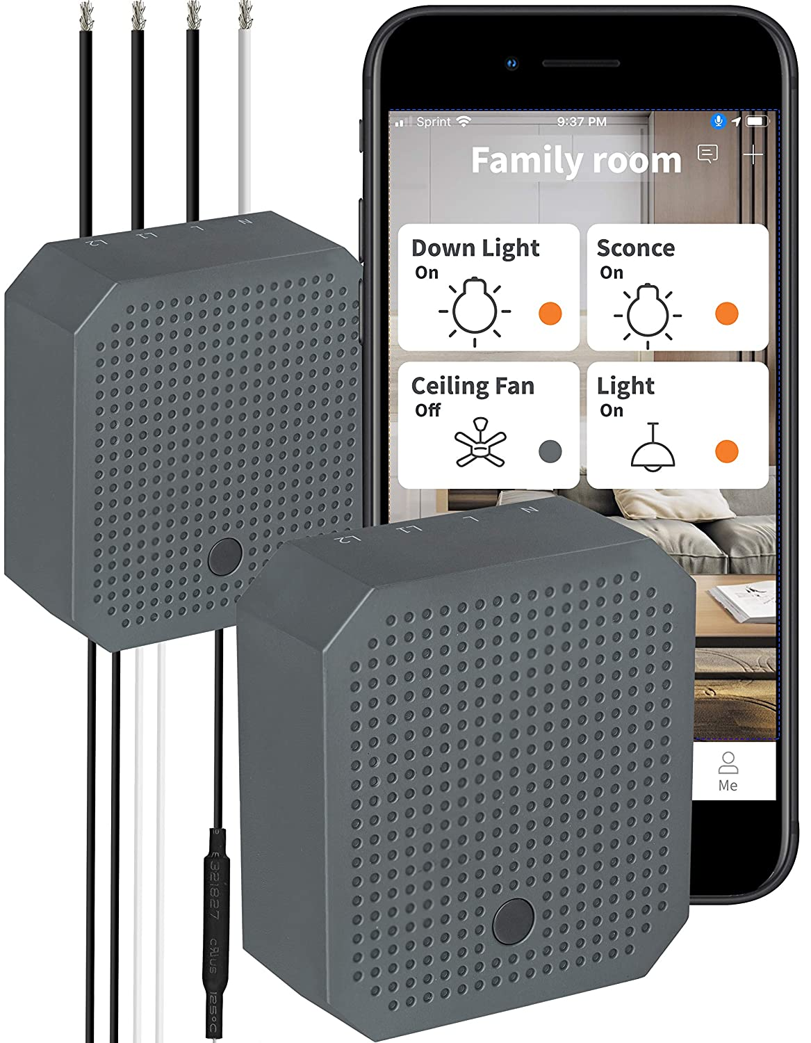 ORVIBO Smart WiFi Dual Relay Switch, Converts Single Pole 2 Switches/Double Light Switch Smart, Remote & Voice Control, Works with Alexa, Google Home, Siri, Needs Neutral Wire, 2.4Ghz Wi-Fi, 2 Pack