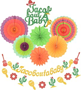Taco Bout a Baby Decorations, Gold Glitter Taco Bout a Baby Banner Sign, Beautiful Colors Paper Tissue Fans, for Mexican Fiesta Themed Birthday Party Decor Baby Shower Decorations Supplies