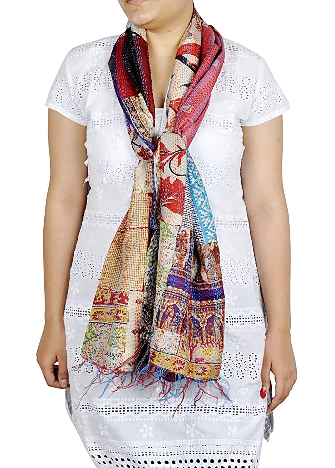 Rajashtnai Formal Kantha Work Decorative Silk Scarve Shawl