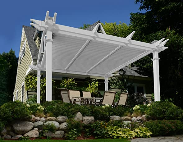 Camelot 12' x 12' Adjustable Louvered Vinyl Pergola
