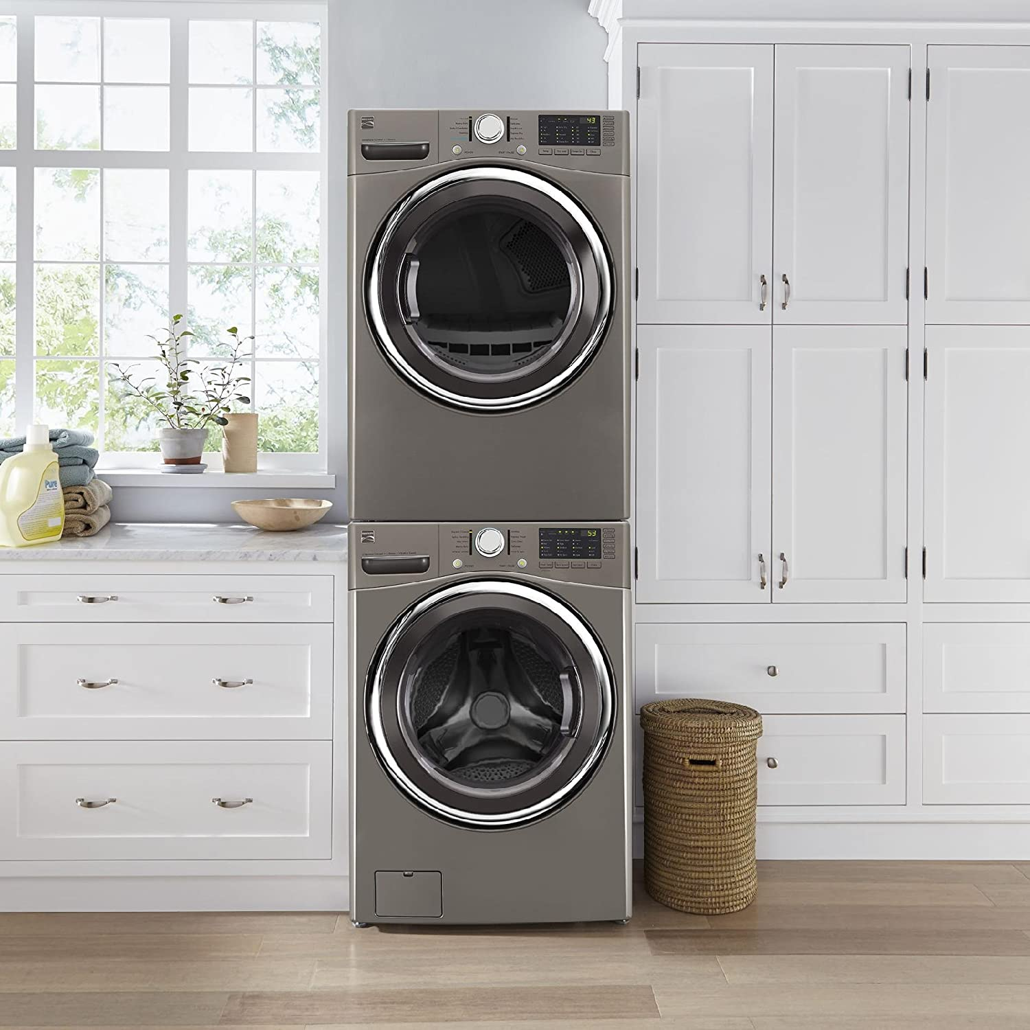 ft Dash Kenmore 81783 Metallic Elite Silver 7.4 Cubic Feet Smart Electric Dryer with Accela Steam and Includes Delivery and Hookup Compatible Alexa cu
