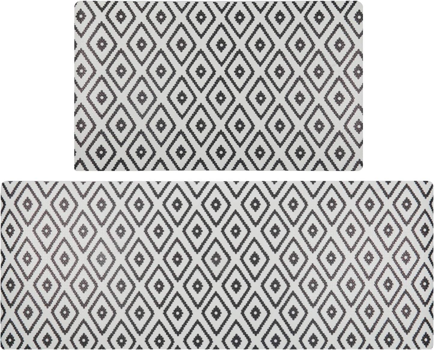 SHACOS Anti Fatigue Kitchen Floor Mat Set of 2 Comfort Mat PVC Foam Cushioned Standing Mats Kitchen Rug Waterproof Non Slip Wipe Clean (Black Rhombus, 18x30+18x47 Inches)