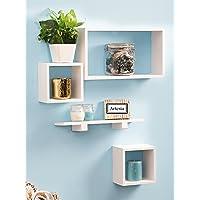 Artesia Yellow MDF Wall Shelf Set of Four