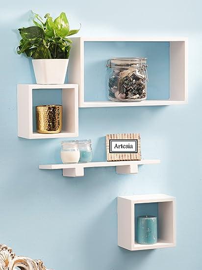Artesia White Wooden Wall Shelf Set Of Four Amazonin Home Kitchen