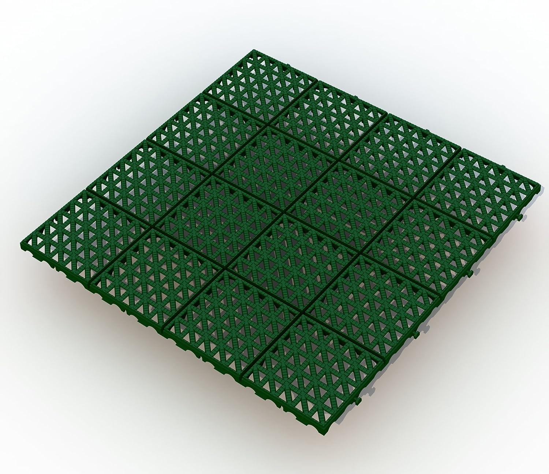 90 ALTADirekt Bodengitter Bodenfliese Rasenfliese Bodenrost Kunststoff 333mm x 333mm x 10,5mm (Grün) (90)