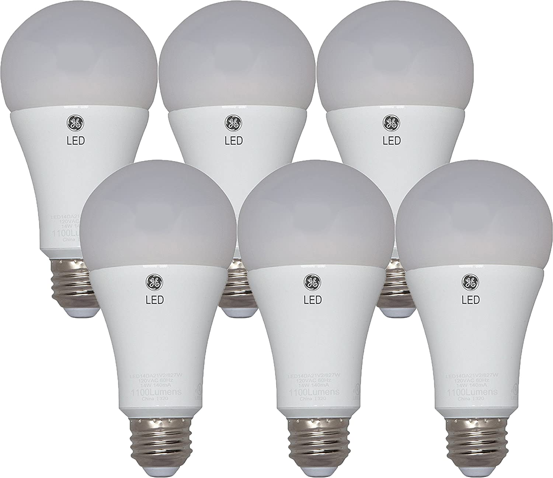 GE Lighting 22711 LED 16-watt (100-watt replacement), 1600-Lumen A21 Bulb with Medium Base, Soft White (6 Pack)