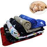 KYC 3 pack 40 x 28 '' Puppy Blanket Cushion Dog Cat Fleece Blankets Pet Sleep Mat Pad Bed Cover with Paw Print Kitten Soft Warm Blanket for Animals
