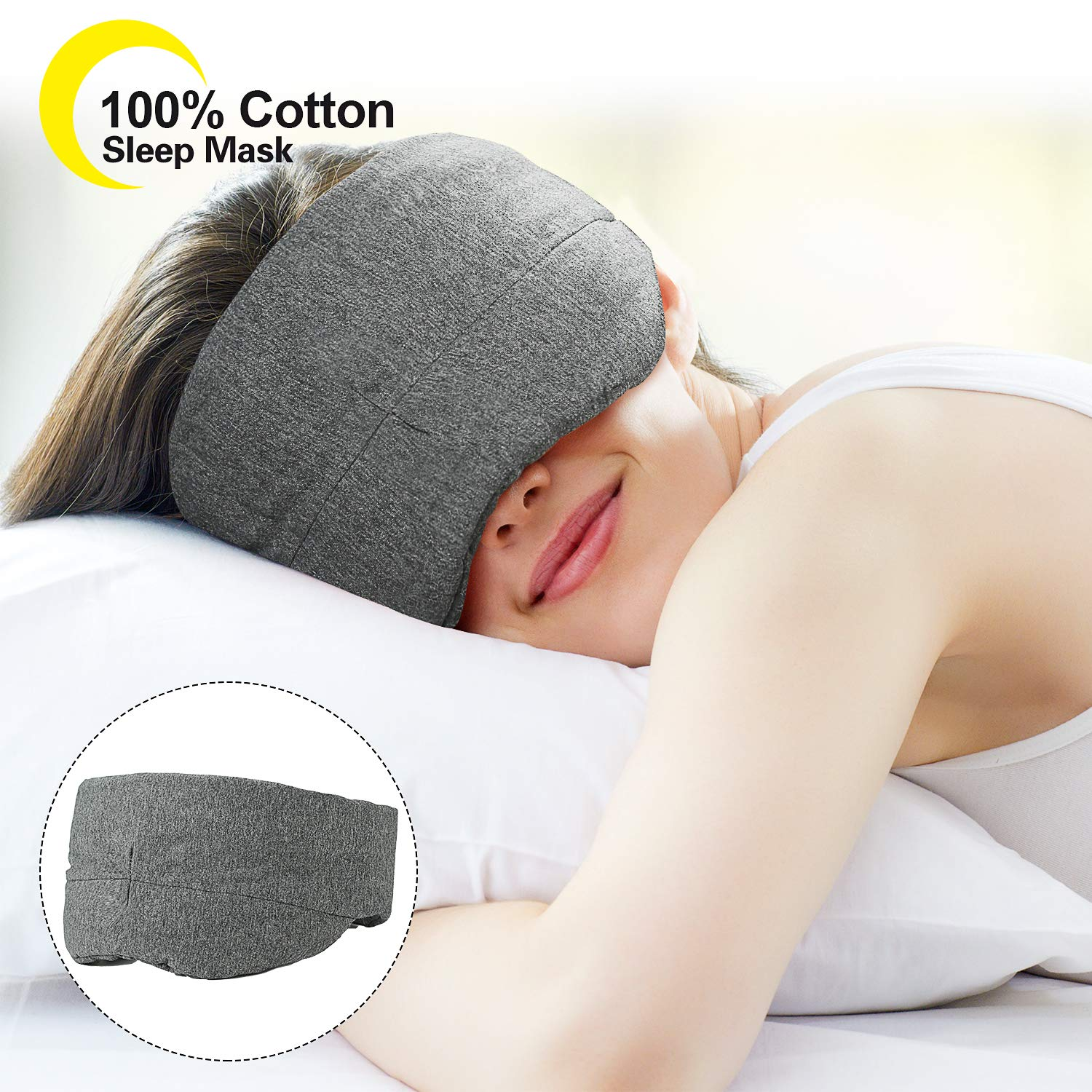 100% Blackout Cotton Sleep Mask - New Design Super Light Blocking Sleeping Eye Mask Natural Soft Comfortable Night Blindfold Adjustable Eyeshade with Carrying Case for Women Men Home Travel