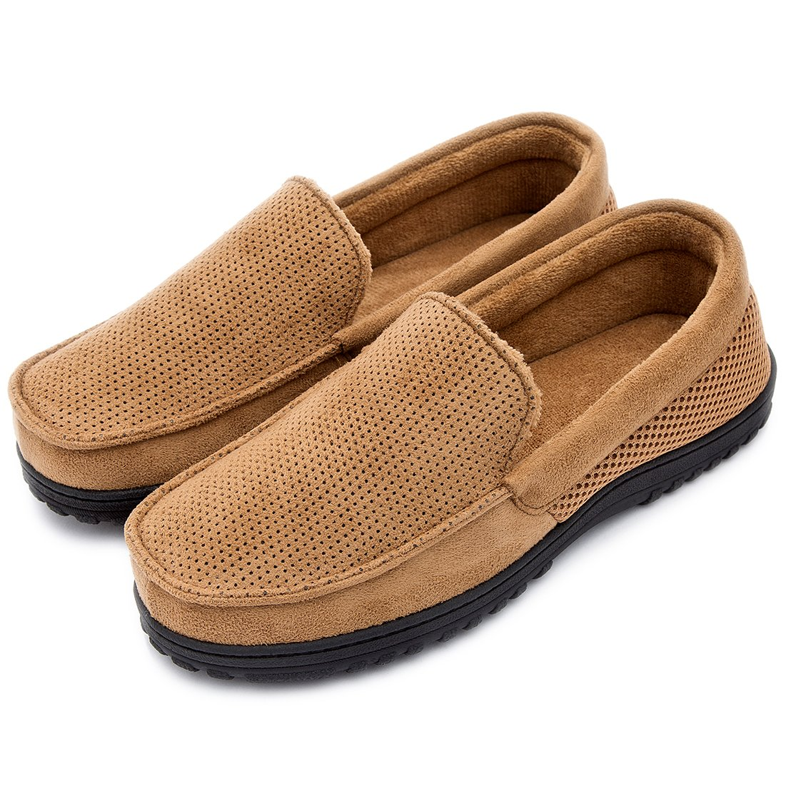 Men's Breathable Micro Suede Memory Foam Moccasins Slippers Plush Fleece Indoor/Outdoor Loafer Shoes w/Arch Supports (10 D(M) US, Tan)