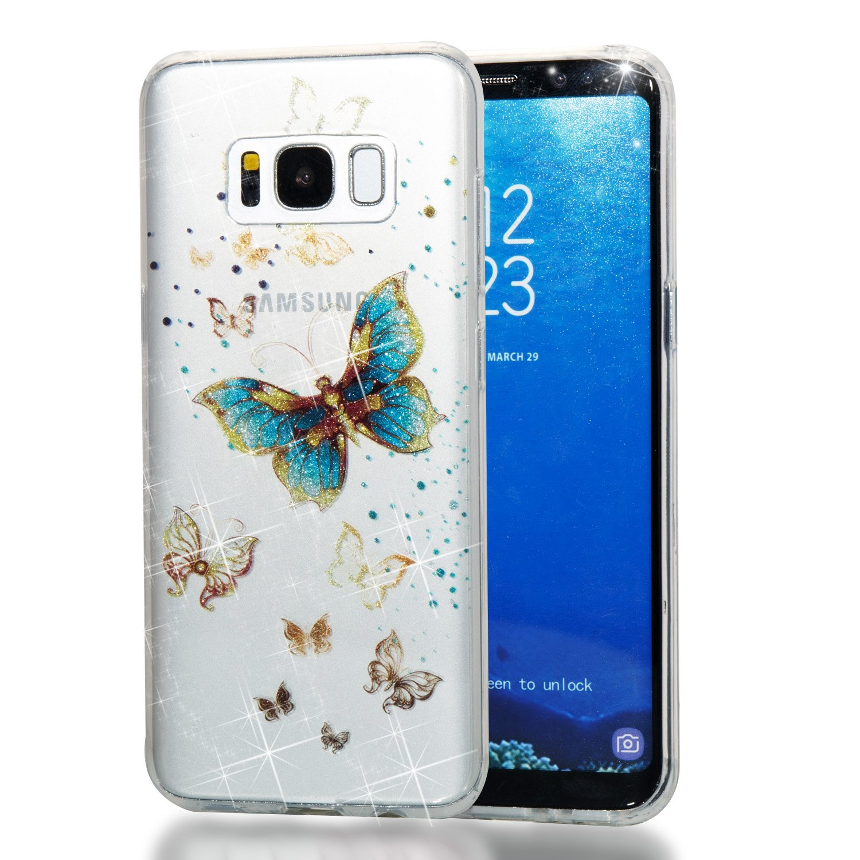 Qiaogle Té lé phone Coque - Soft TPU Silicone Housse Coque Etui Case Cover pour Samsung Galaxy S8 (5.7 Pouce) - YB72 / Bleu Papillon