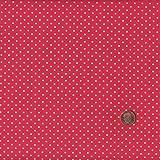 Tela de algodón (140 cm, diseño de lunares), color rojo