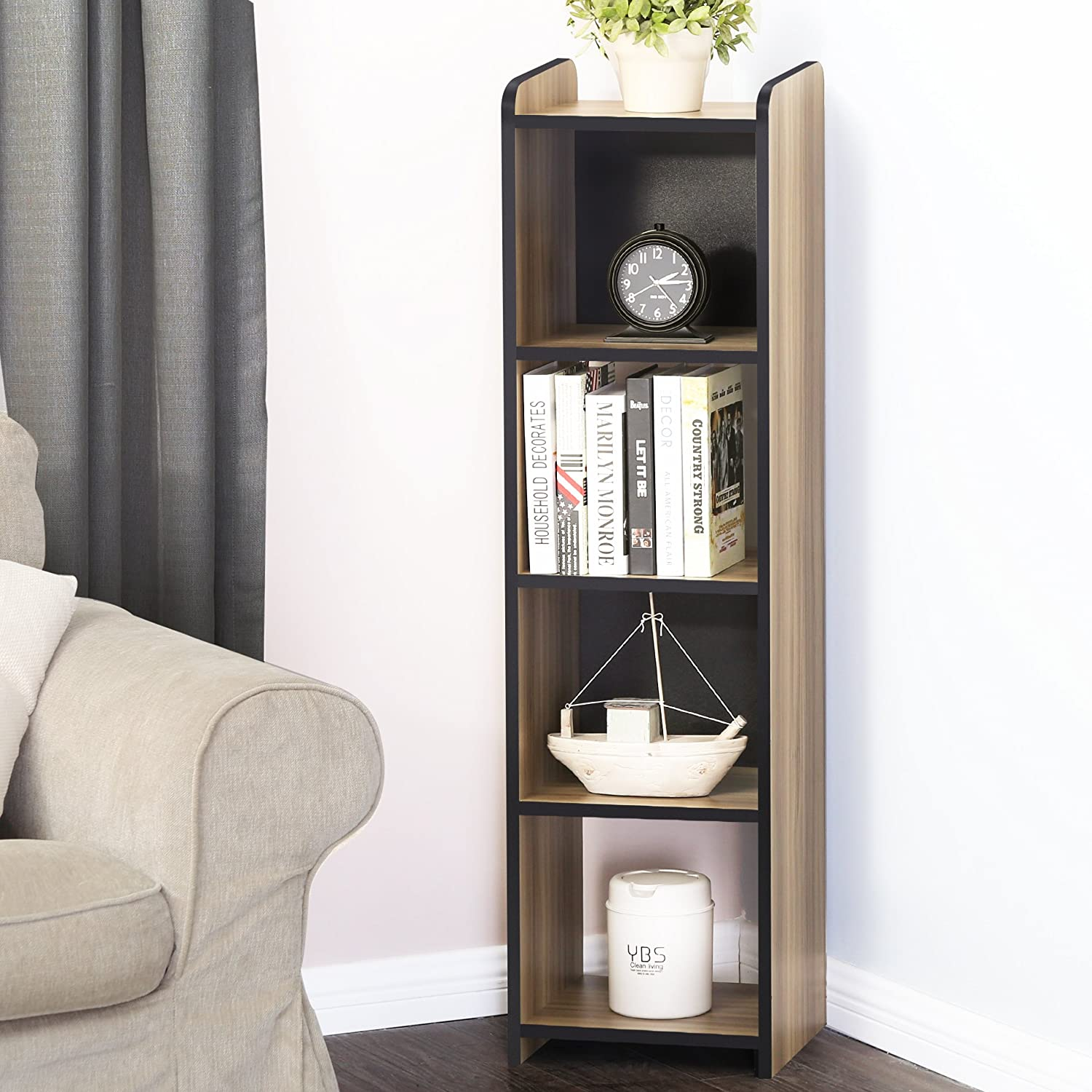 FITUEYES Cubeicals Bookcase Vertical Organizer Media Tower Storage Shelves CD Racks and Stands BBC503201WB