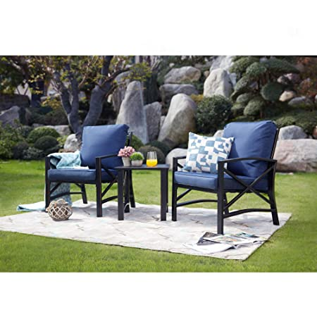 LOKATSE HOME 3 Piece Outdoor Patio Chairs Set with Table, Bistro Furniture Metal with Cushions, Blue